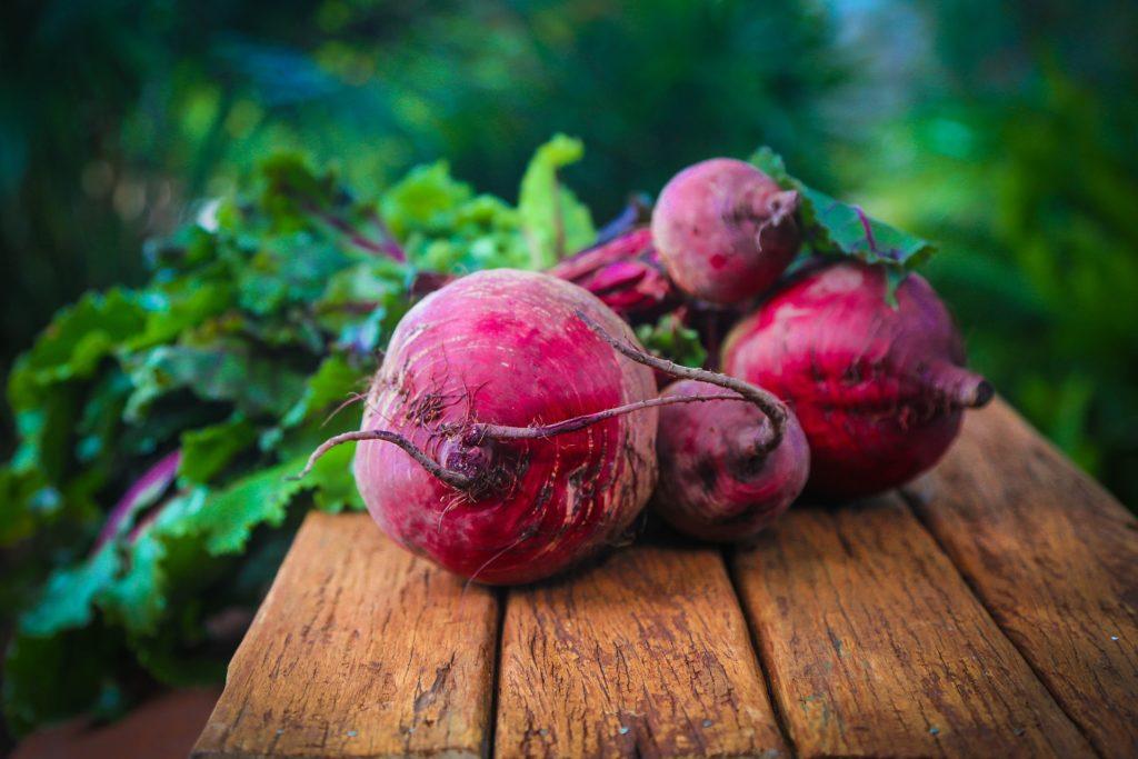 Rote Beete Knollen auf einer Holzbank mit dem Laub im Hintergrund